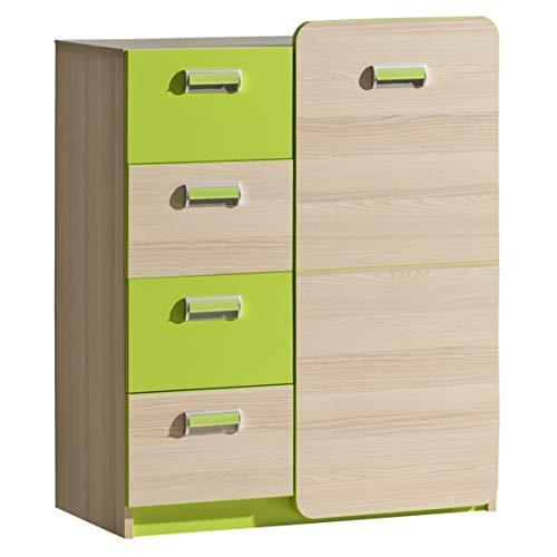 Furniture24 Kommode LORENTO L6 Schubladenkommode mit Tür und 4 Schubladen Kinder Schrank (Esche Coimbra/Lime Grün)