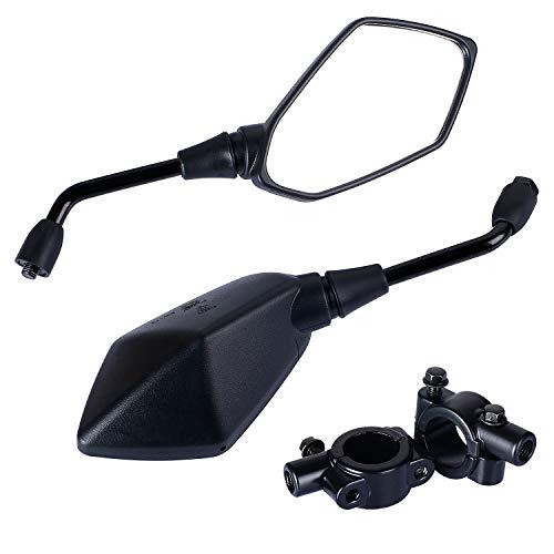 Yizhet Espejo Retrovisor de Motocicleta,1 par Universal Diamante Reflector Pentagonal Espejo Lateral Retrovisor para Motocicletas y Scooters, Bicicletas