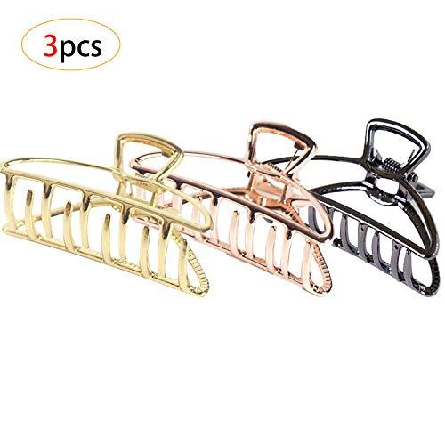 CAILI Klaue Clips,3 STÜCKE Haarspangen,Retro Minimalistische Sichelförmige Haarspangen,Rutschfeste Haarnadel Haar Zubehör Für Frauen(Gold + Schwarz + Rotgold)