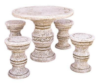 Conjunto Comedor de Piedra para Jardin Circular Sicilia