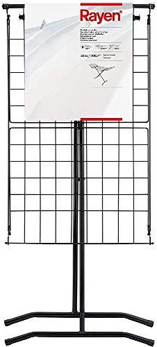 Rayen Superficie de tendido de 18 m | Sistema de Bloque de alas | Tendedero Plegable | para Interior y Exterior | 162 x 57,5 x 104,5, Acero Pintado, Negro, 162 x 57.5 x 104.5 cm