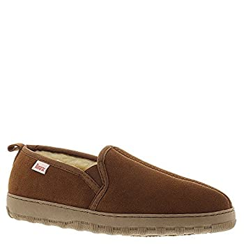 Tamarac Mens Twin Suede Faux Fur Lined Moccasin Slippers Brown 10 Medium  D