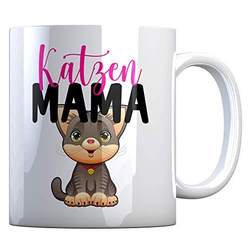 Tassenbude Tasse mit lustigen Sprüchen - Katzen Mama - für Katzenliebhaber, Katzenbesitzer, Tierliebhaber beidseitig bedruckt spülmaschinenfest Bürotasse Geschenk-Idee für die Katzenmama Kater