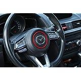 マツダ車用 ステアリング センターリング アテンザ アクセラ デミオ CX-3 CX-5 CX-8 ABS樹脂 レッド エンラージ商事