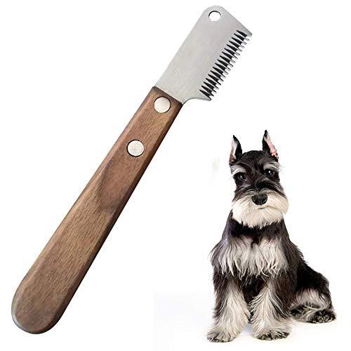 Aidiyapet Hund Trimmmesser Abisoliermesser Ergonomisches Unterwoll Deckhaar Trimm Messer aus gehärtetem und geschliffenem Edelstahl mit ergonomisch geformtem (Braun)