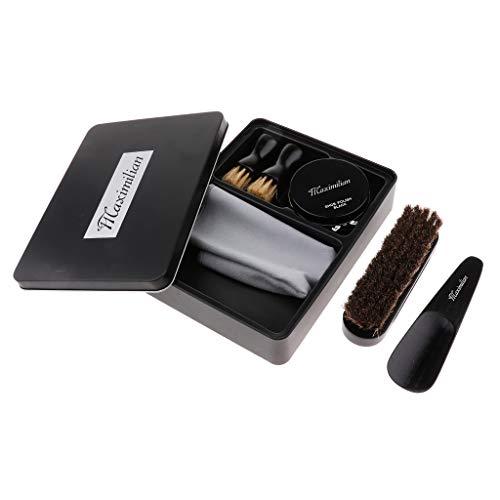 IPOTCH Kit de Cirage de Chaussures avec Boîte de Conserve Portable