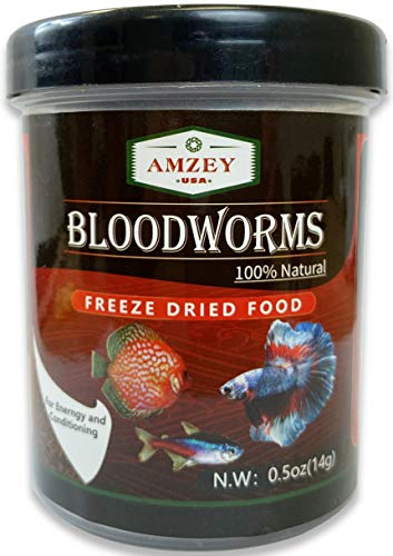 Blood Worms 0.5 oz -100% Natural Freeze Dried Blood Worms - Aquarium Fish Food - High Protein Food for Betta Fish, Food for Goldfish, Food for Cichlid, Food for Guppy, Food for Discus, Food for Turtle
