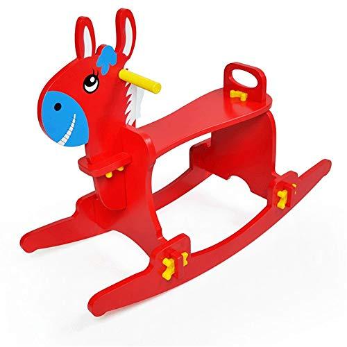 XWX Hölzerne Pferd Kinder Rocking Horse Baby Rocking Pferdestuhl 1~3 Geburtstagsgeschenk Kleines Hölzerne Pferdespielzeug (Color : Red)