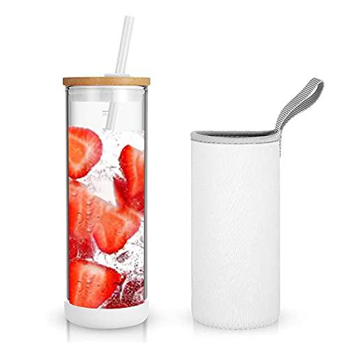 Tronco - Vaso de vidrio para café helado con popote y tapa de bambú| Taza de batido reutilizable, de boca ancha, con popote y funda aislante, botella de agua de vidrio y borosilicato con tapa | 682 mL