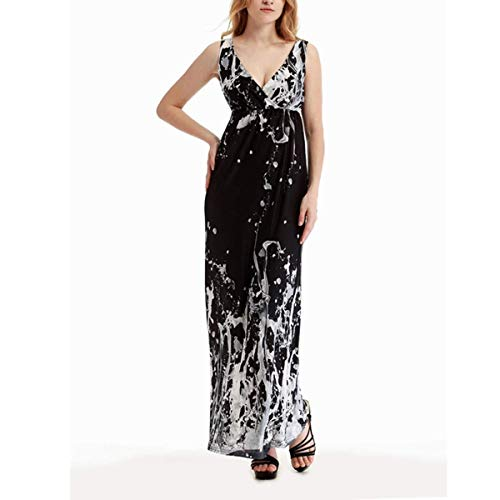 QCSMegy Maxi Summer Dresses for Women Summer Women Floral Print Deep V Neck Dress, Long Casual Sleeveless Floor Length Boho Beach Long Slip Maxi Dress Elastic Waist M-5XL (Color : Black, Size : XL) (Apparel)