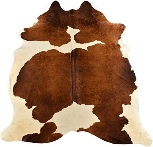generisch KUHFELLE Online 13650 - Alfombra (Piel de Cal, 170 x 150 cm), Color marrón y Blanco