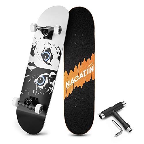 NACATIN Skateboard Komplettboard für Kinder Jungendliche und Erwachsene mit T Tool Werkzeug ABEC-9 Kugellager 92A Anti-Rutsch-Glatt und Mute Rad Funboard für Anfänger (Weiß)