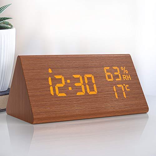 NBPOWER Wecker Digitaler LED Wecker Uhr Holz,Digitalwecker Tischuhr mit Sprachsteuerung/Snooze Funktion/Datum/Temperatur und Luftfeuchtigkeit, für Zuhause, Schlafzimmer, Nacht Kinder und Büro- Braun