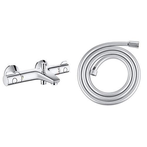 Grohe Grohtherm 800 - Grifo termostático para bañera y ducha, montaje en pared + GroheSilverFlex -Flexo de ducha TwistFree, 1750mm (Ref. 28388000)