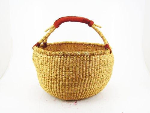 Ciffre ca. 40cm Bolga Rundkorb Korb Afrika Ghana Einkaufskorb Ledergriff Natur Naturfarbe