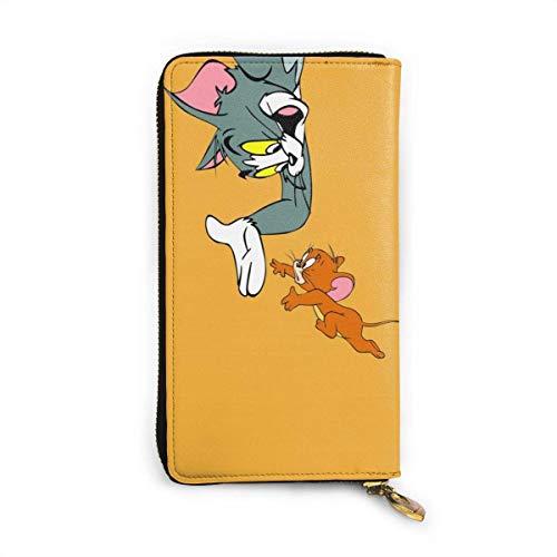 Tom Jerry Geldbörse Bloing Echtes Leder Geldbörsen Double Zip Wallet Organizer Clutch Bag Kreditkartenhalter Große Kapazität Geldbörse Handytasche Für Männer Frauen
