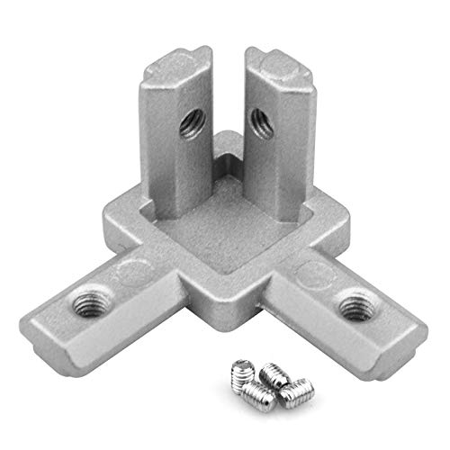 OTTFF 20 Pcs 2020 Series 3-Way End Corner Bracket Solid Connector with M4x 5mm 304 Stainless Steel Screws for Standard 6mm T Slot Aluminium Alloy Extrusion Profile 3D Printer Parts
