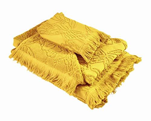 Ardenza Juego de 3 toallas de rizo con estructura profunda   Toalla de cara 33 x 50 cm   Toalla de mano 48 x 90 cm   Toalla de ducha 70 x 140 cm   Alta Absorción   Toallas de rizo 520 g/m² Blossom