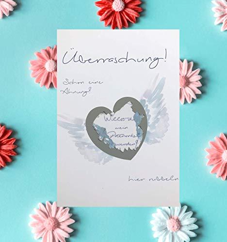 Rubbelkarte Patenonkel + Chip Herz -> Willst du mein Patenonkel sein ? -> Taufe, Geburt, Kindertaufe, Tante Pate, Geschenk, Überraschung, Kindtaufegeschenk, Geschenke für Patenonkel (blau