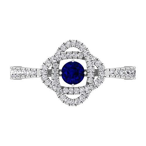Anillo de diamante y zafiro azul, anillo solitario con piedras laterales, anillo de compromiso de oro (4 mm zafiro azul), 14K White Gold, Blue Sapphire, Size:US 52