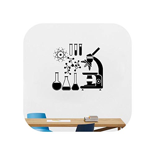 Reisewandaufkleber |Mikroskop Wissenschaft Wissenschaftler Chemie Wandaufkleber Schule Labor Wandkunst Aufkleber Dekor-Weiß-52cmx45cm