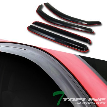 Topline Autopart In Channel Smoke Window Visors Deflector Vent Shade Guard 4 Pieces For 05-15 Toyota Tacoma Double (Crew) Cab