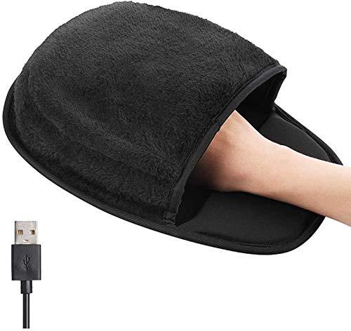 Cwypxl Universal USB-Handwärmer für den Winter, Hand-Erwärmung Mousepad, beheizbares Computer-Maus-Pad, Warm Plüsch Mauspad mit Handgelenkauflage Unterstützung,Schwarz