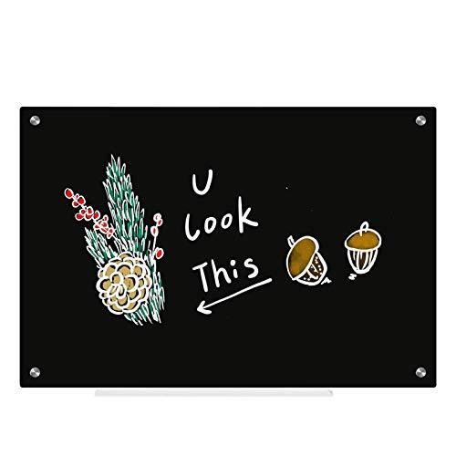 Pizarra de cristal no magnética, 45 x 60 cm, pizarra de borrado en seco con bandeja para bolígrafos para montar en la pared, presentaciones de avisos, pizarra negra, hogar, oficina, escuela, cafés