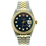 Rolex Mens Datejust 16013 36mm Steel & Gold Datejust Custom Added Blue Diamond Dial & Custom 1CT Diamond Bezel (Certified Preowned)