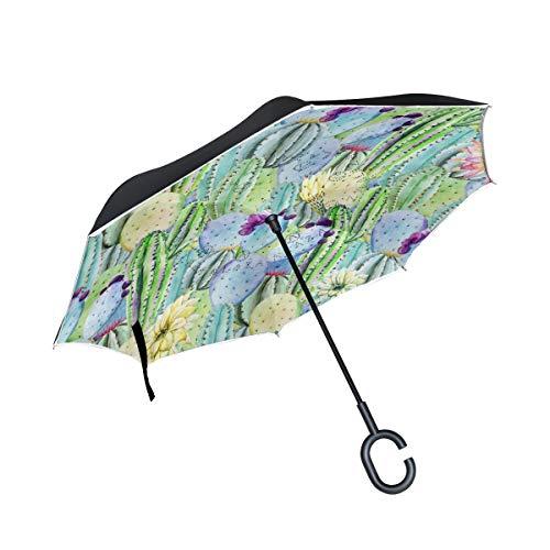 Großer doppelter umgekehrter Regenschirm Aquarell Tropischer Kakteen Peyote Winddicht Down Regenschutz Auto Rückwärtsschirm mit C-förmigem Griff