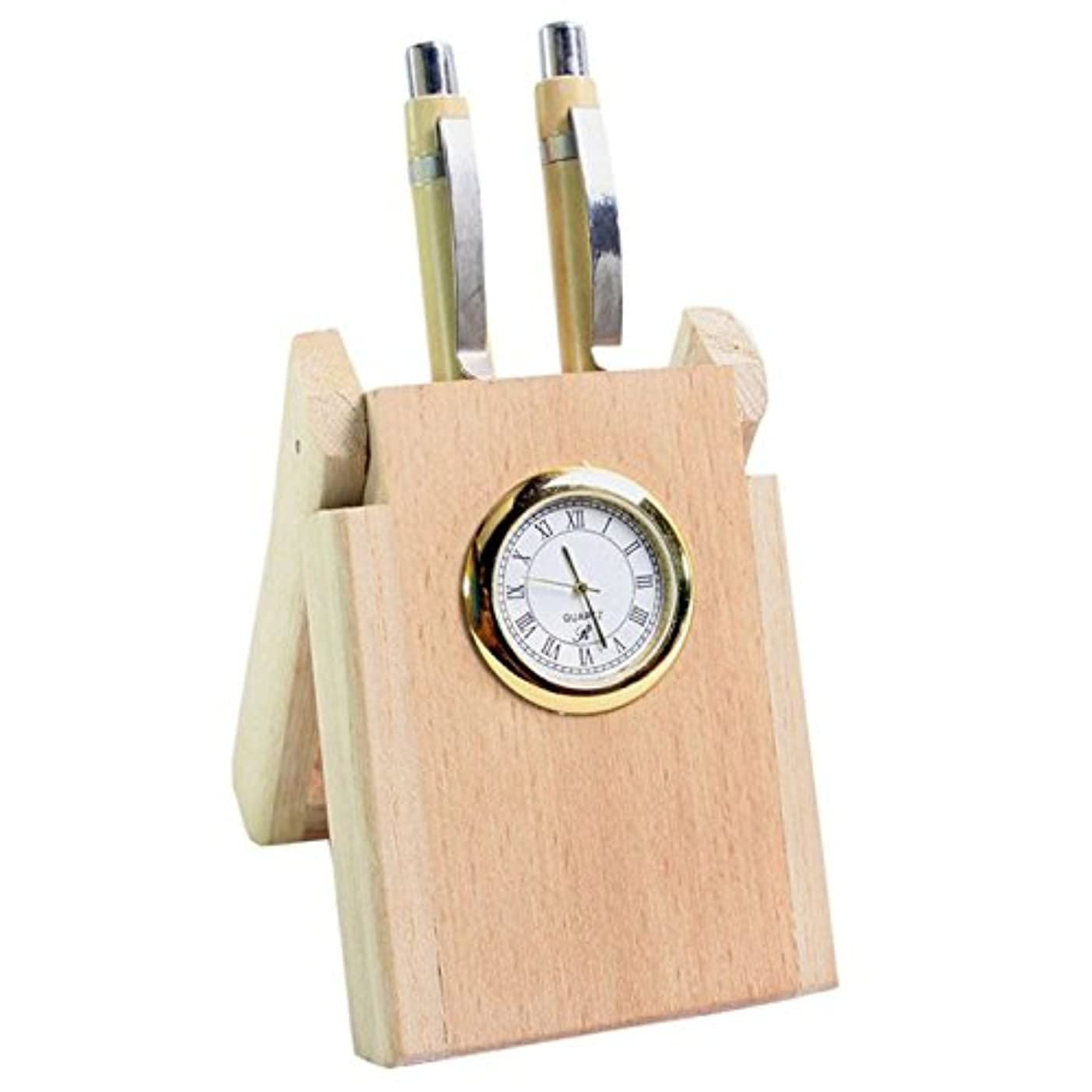 IndiaBigShop Handmade Wooden Watch Cum 2 Pen Stand, Perfect For Office and Home Desk, Office Pen Stand 5.5 Inch