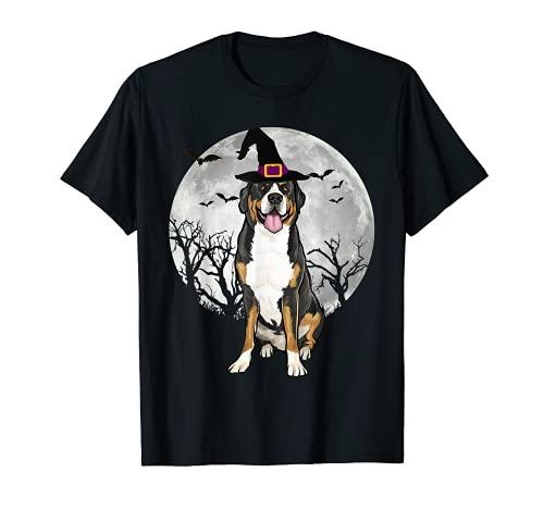 Sombrero de bruja de perro de montaña suizo de miedo Halloween Camiseta