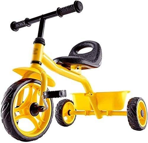 BANANAJOY Bicicletas for niños Bebé Infantil Triciclo Toy Walker Boy and Girl Scooter 3~10 años de Edad Niños Bicicleta Preescolar (Color: Amarillo, Tamaño: 73x48x60cm)