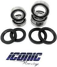 Iconic Racing Both Front and Rear Wheel Bearings and Seals Kit Fits Kawasaki KX125 KX250 KX250F KX450F
