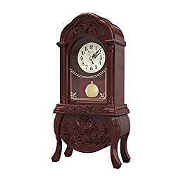 Table Clock, Antique Table Clock, Battery-Powered Vintage Table Clock, Mute Without Ticking-Suitable for Living Room/Bookcase/Office Decoration (Brown)