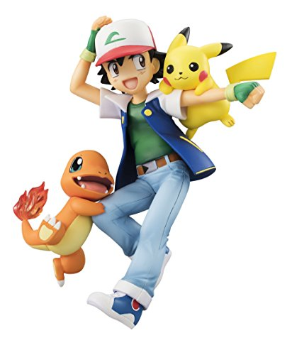 G.E.M. Series Pokemon Ash Ketchum & Pikachu & Charmander Complete Scale Figure Character Model Collection Satoshi Red and Green First Generation MegaHouse