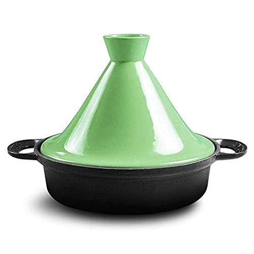 LXTIN Marokkanische Tajinepfanne 25cm100% bleifreie Sicherheit Slow Cooker Gusseisenmaterial Geeignet für großes Kochen für 3-5 Personen, grün