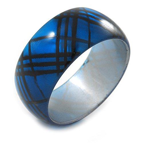 Unbekannt Avalaya Armreif, Acryl, Schottenmuster, 20 cm, Blau/Schwarz