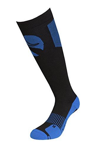 coreevo - Calcetines Largos compresivos Full Performance, Negro/Azul, L 43/46