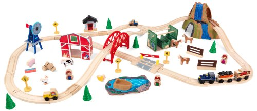 KidKraft Wooden Rural Farm Train Set...