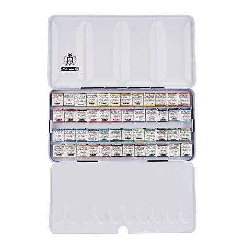 Schmincke – HORADAM AQUARELL Farbkasten mit 48feinsten Aquarellfarben, 74448097, schwarzer Metallkasten, Malset, Premium Aquarellfarben, 48 x 1/2 Näpfchen