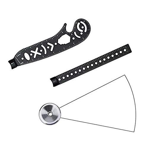 fengzong Zeichenwerkzeug Design Zeichnung Gebogenes Metallic Multifunktions-EDC-Lineal Mini Winkelmesser Kombikreise Zeichnungsmuster für Büro (Schwarz)