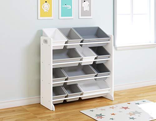 UTEX Kids' Toy Storage Organizer with 12 Plastic Bins (White)