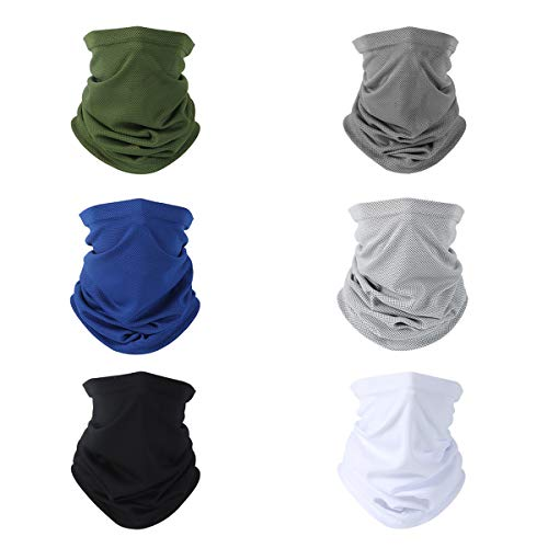Emperia 6 Pack Unisex Sun UV Protection Face Mask Scarf Neck Gaiter Balaclava Reusable for Men Women Cobo 1