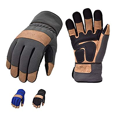 Vgo 3Pairs 32? or Above 3M Thinsulate Insulation C40 Lined Winter Warm Touchscreen Premium Pigskin Leather Work and Driver Gloves(Size M, 3Colors, PA7674FW)