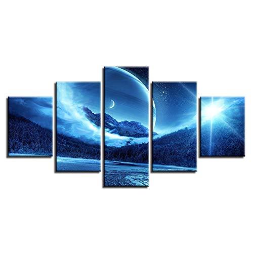 nobrand ZNIDEAL Leinwanddrucke Leinwandbilder Kunst HD-Drucke 5 Stück Blue Night Forest Moonlight Paintings Modular Planet Scenery Poster Drucke auf Leinwand Rahmen