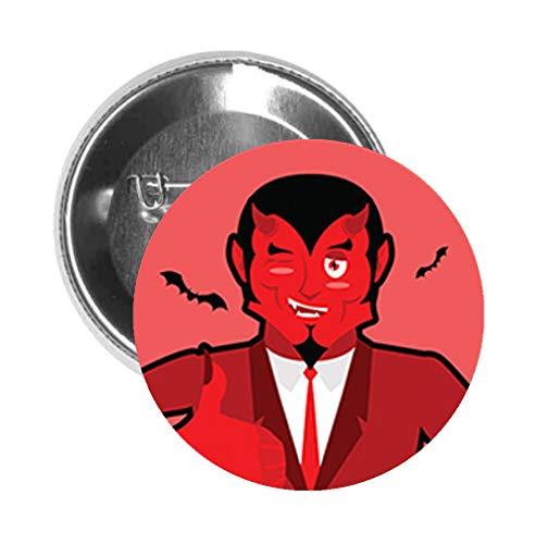 Round Pinback Button Brooch Satan Approves Thumbs Up Cartoon Icon (Normal, 3' Inch)