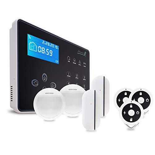Atlantic'S NEOS KIT 2 - Allarme senza fili NEOS per trasmissione di avvisi su linea fissa o mobile, tolleranza animali domestici, sirena integrata 105 dB