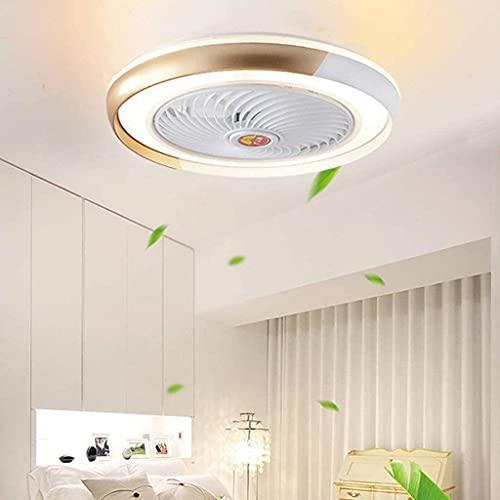Ventiladores De Techo Con Luces, Led 36W Luz De Techo Regulable Control Remoto Moderna De 3 Velocidades Ventilador Invisible Habitación Infantil-Dorado