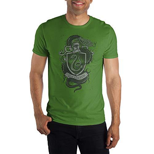Harry Potter Hogwarts House of Slytherin Crest & Knight Helmet Men's Green Tee T-Shirt Shirt-XX-Larg
